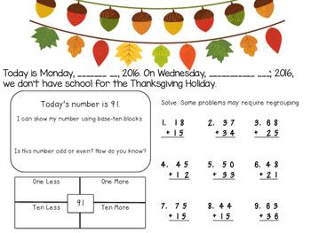 2nd Grade 2nd Quarter Math Morning Work: VA SOLS