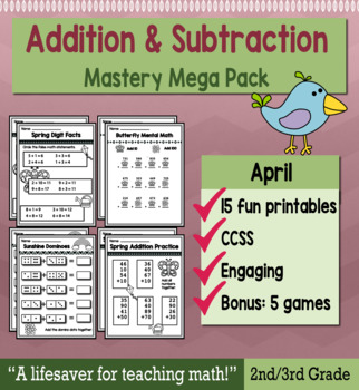 """2nd Grade/3rd Addition & Subtraction """"Mastery Pack"""" for April"""