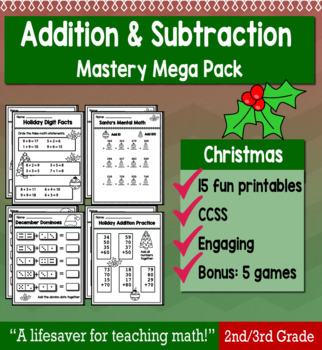 "2nd Grade/3rd Addition & Subtraction ""Mastery Pack"" for December"