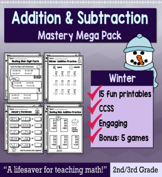 "2nd Grade/3rd Addition & Subtraction ""Mastery Pack"" for January"