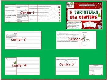 2nd Grade / 3rd Grade 5 Christmas ELA / Liteacy Centers. Common Core Aligned