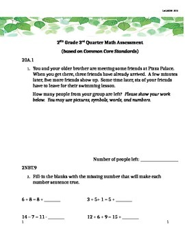 2nd Grade 3rd Quarter Common Core Math Assessment (ANSWER KEY INCLUDED)
