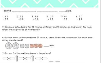 2nd Grade 3rd Quarter Math Morning Work : VA SOLS