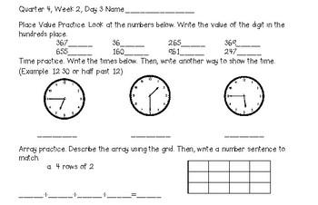 2nd Grade 4th Quarter Daily Spiral Math Reviews