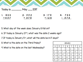 2nd Grade 4th Quarter Math Morning Work:VA SOLS