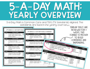 5-a-Day Math: 2nd Grade Daily Spiral Math Review (Full Year) #summerSALEbration