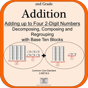 2nd Grade: 9 Lessons w/ PPTs-Adding Up to 4 2-Digit Numbers with Base Ten Blocks
