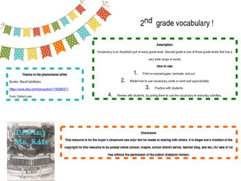 Editable*** 2nd Grade Academic Vocabulary