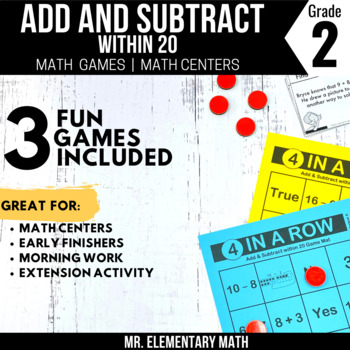 Add and Subtract within 20 Games and Centers 2nd Grade