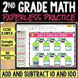 2nd Grade Add and Subtract 10 and 100 Google Classroom Distance Learning 2.NBT.8