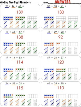 2nd Grade - Adding Two Digit Numbers - CC 2.MD.5 (10s Frames option)