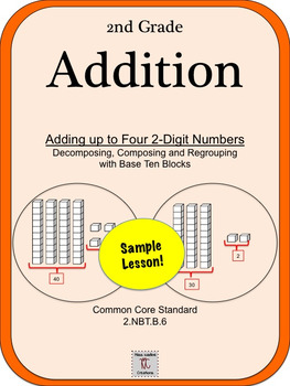 2nd Grade:Adding Up to 4 2-Digit Numbers with Base Ten Blocks (Sample Lesson #1)
