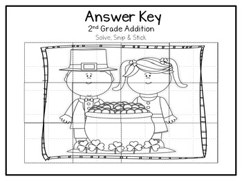 2nd Grade Addition: Solve, Snip and Stick: St. Patty's Day Theme: