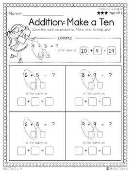 Differentiated 2nd Grade Addition Strategy Worksheets FREEBIE