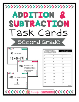 2nd Grade Addition & Subtraction Task Cards