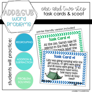 Addition and Subtraction Word Problem Task Cards {2nd Grade}