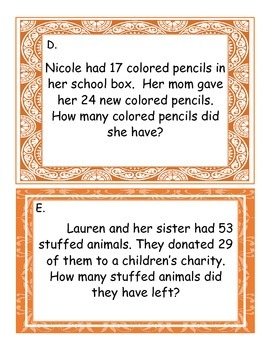 2nd Grade Addition and Subtraction Word Problem Task Cards (with regrouping)