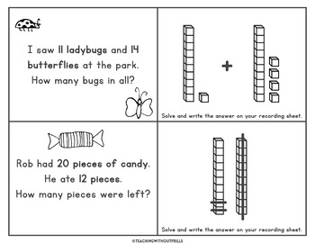 2nd Grade Addition and Subtraction within 100 Word Problems Matching Game