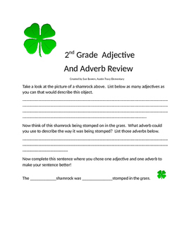 2nd Grade Adjective/Adverb  Shamrock