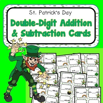 St. Patrick's Day Double Digit Addition Subtraction Cards 2.OA.A.1