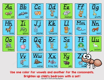 D'nealian Alphabet Posters - Animal Theme