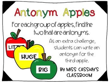 2nd Grade Antonyms ELA/Literacy Center
