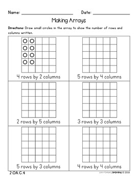 DISTANCE LEARNING 2nd Grade, Arrays & Repeated Addition- No Prep Worksheets