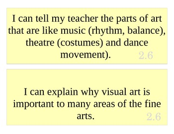 2nd Grade Art I Can Statements
