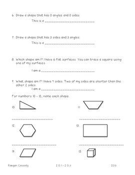2nd Grade Assessment - Geometry & Fractions