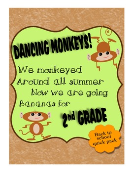 2nd Grade BTS Get To Know You Monkey Theme Pack w Wall Han