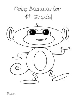4th Grade BTS Get To Know You Monkey Theme Pack w Wall Hanging & Bookmarks