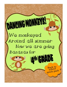 4th Grade BTS Get To Know You Monkey Theme Pack w Wall Han