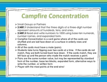 Place Value Game: Campfire Concentration