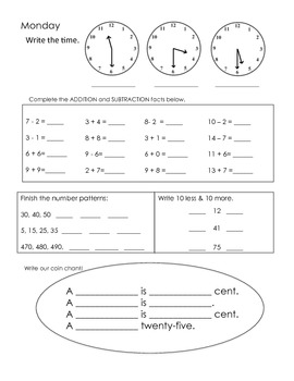 2nd Grade Beginning of the Year and 1st 9 weeks Math Review