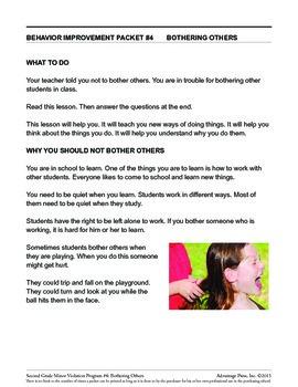 2nd Grade Behavior Improvement Packet: Bothering Others