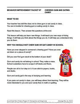 2nd Grade Behavior Improvement Packet: Gum and Candy
