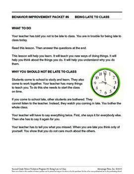 2nd Grade Behavior Improvement Packet: Late to Class