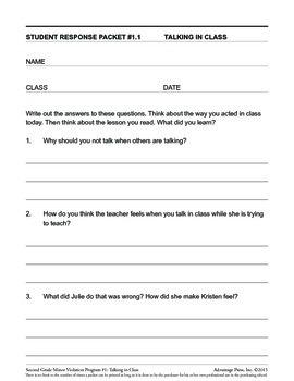 2nd Grade Behavior Improvement Packet: Talking