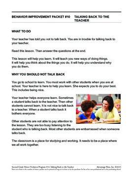 2nd Grade Behavior Improvement Packet: Talking Back