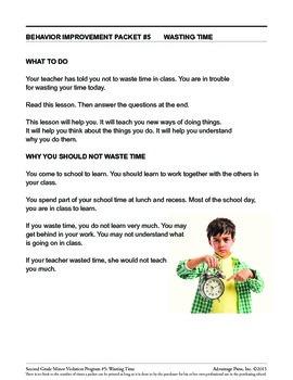 2nd Grade Behavior Improvement Packet: Wasting Time