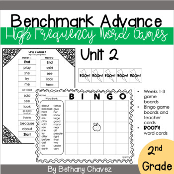 Benchmark Advance 2nd Grade High Frequency Word Games Unit 2