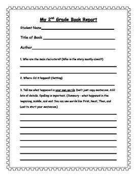2nd Grade Book Report Form