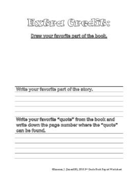 2nd Grade Book Report Worksheet