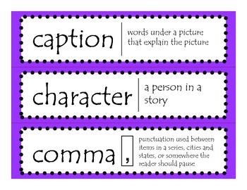 2nd Grade CCGPS ELA Word Wall Vocabulary Cards - Purple Polka Dots