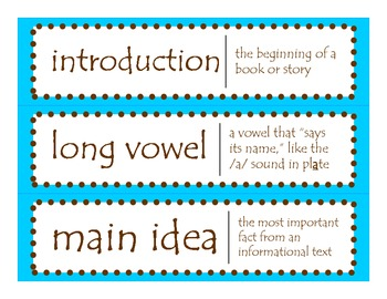 2nd Grade CCGPS ELA Word Wall Vocabulary Cards – Teal Blue and Brown Dots