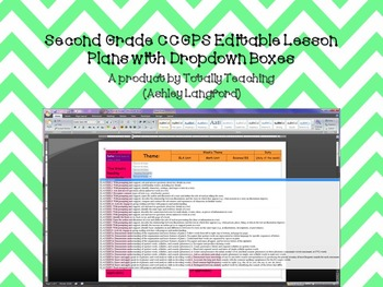 2nd Grade CCGPS Editable Lesson Plans with Dropdown Boxes