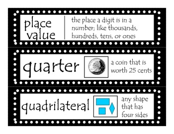 2nd Grade CCGPS Math Word Wall Vocabulary Cards - Black Polka Dots