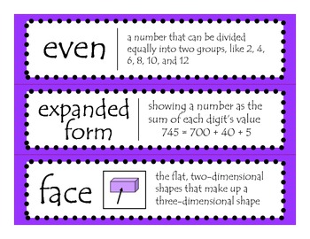 2nd Grade CCGPS Math Word Wall Vocabulary Cards - Purple Polka Dots