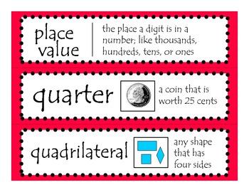 2nd Grade CCGPS Math Word Wall Vocabulary Cards - Red Polka Dots