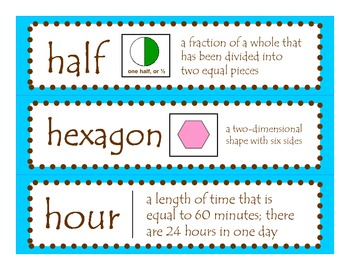 2nd Grade CCGPS Math Word Wall Vocabulary Cards – Teal Blue and Brown Polka Dots